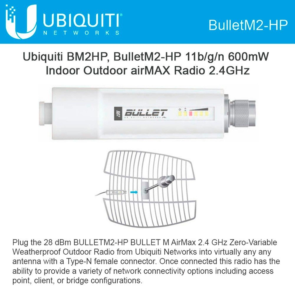BulletM2 High Power Access Point 2.4 GHz 28dBm Zero-Variable Outdoor airMAX Radio 802.11n Plug and Go 100Mbps