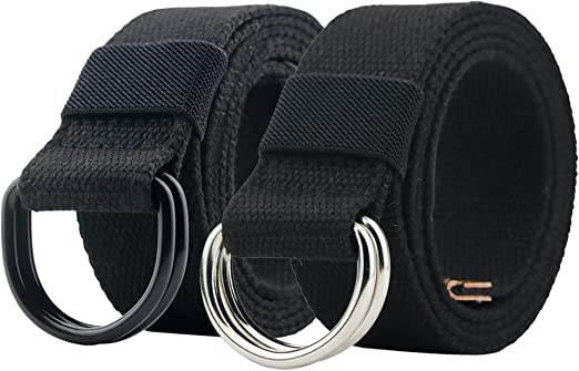 Mens Canvas Belt Black Double D Ring Buckle Womens No Hole Easy To Use New