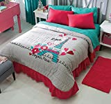 Paris 3-Piece Bedspread Set Bundled with Window Panels Set Full / Queen by Home & Kitchen Online Store