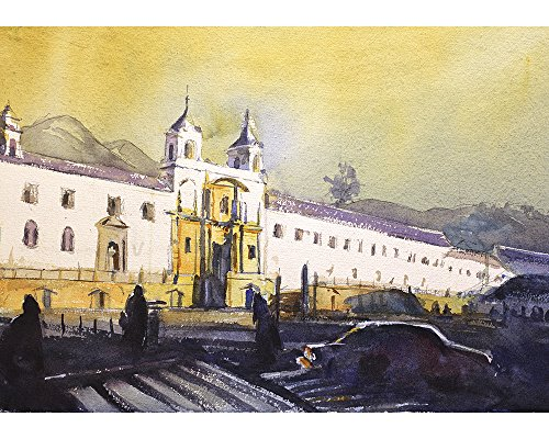 Watercolor painting of Monastery in Old Town Quito, Ecuador by Raleigh, NC artist Ryan Fox - Of Nc Town Raleigh