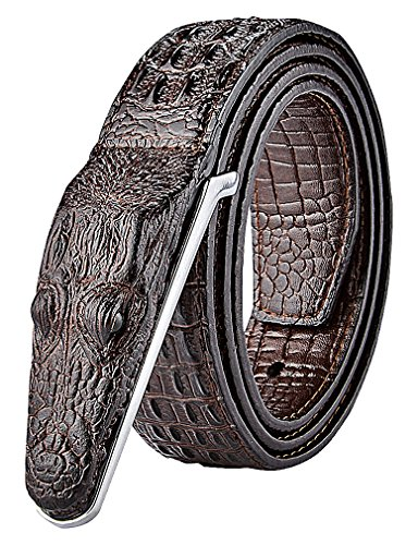 Celino Men's Casual Faux Leather Crocodile Head Texture 3.8 cm Wide Belt (Faux Crocodile Belt)