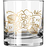 """Easy, Tiger Lowball Glass with Foil, Gold""""Booze"""" Tattoo (Single Glass)"""