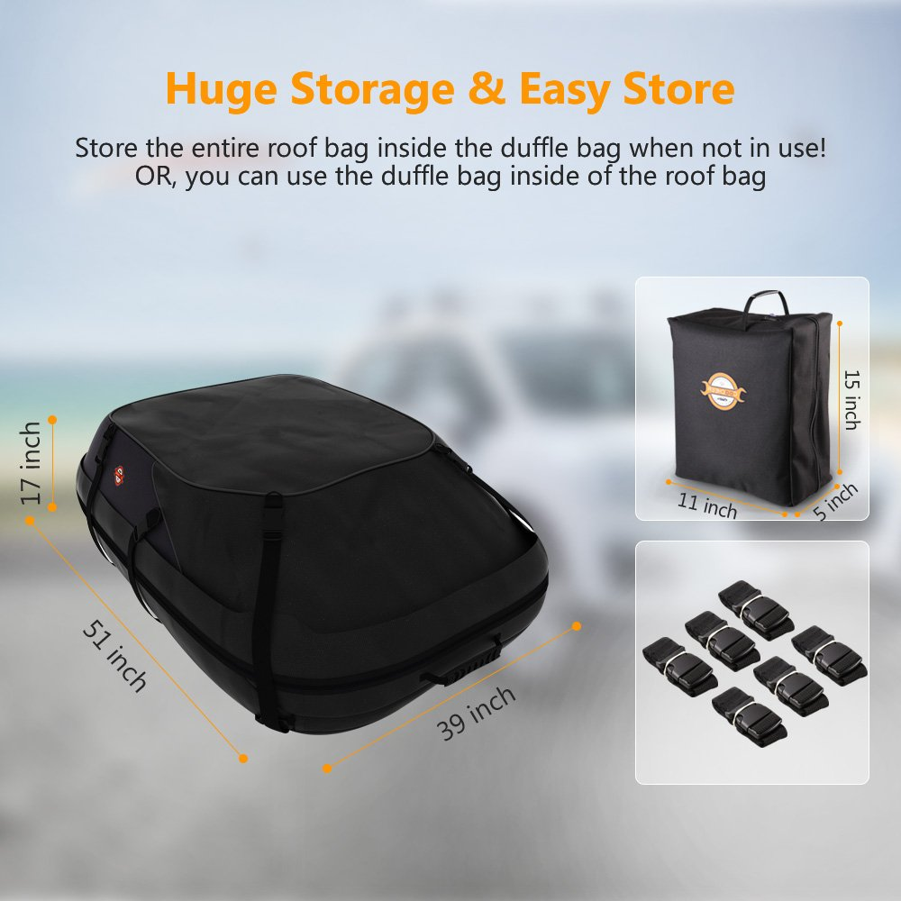 Sailnovo Rooftop Cargo Carrier Car Top Carrier Roof Bag,Water Resistant Waterproof Car /& Van Soft Rooftop Travel Cargo Bag Box Storage Luggage Large with Straps 20 Cubic Feet, Black
