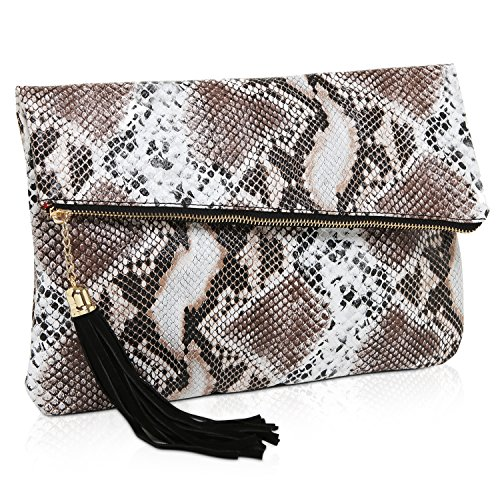 MG Collection Snake Print Foldover Clutch Purse / Evening Handbag with Tassel
