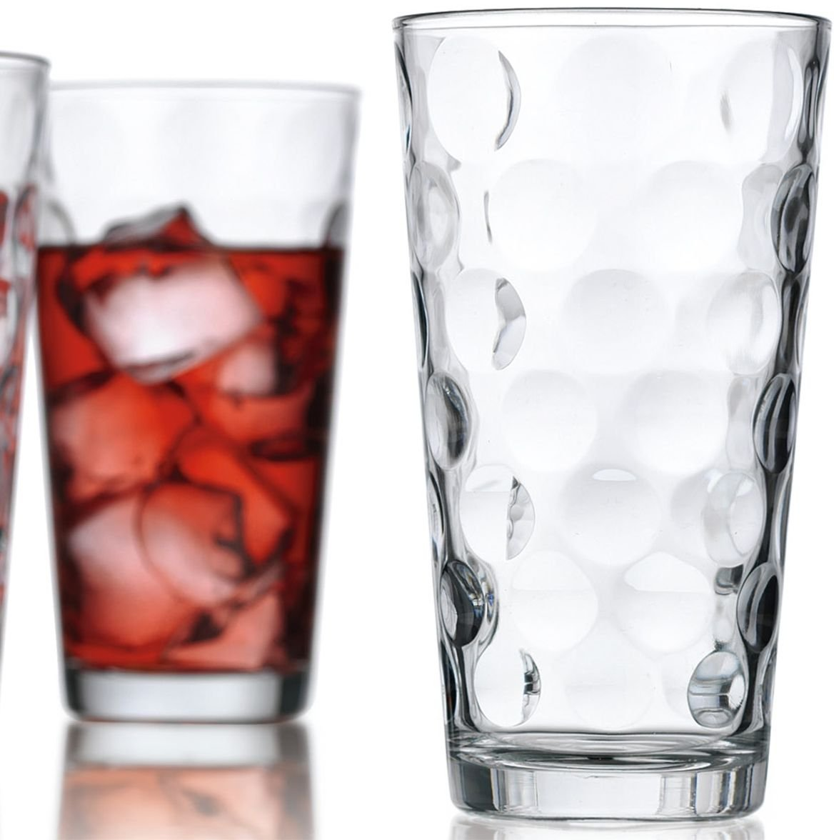 Attractive Bubble Design Highball Glasses Clear Heavy Base Tall Bar Glass Bubble Design - Set Of 10 Drinking Glasses for Water, Juice, Beer, Wine, and Cocktails, 17 ounce by Le'raze