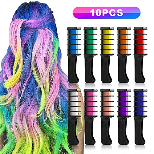 Temporary Hair Chalk Set, 10 Colors, Birthday Gift for Girls,Bright Metallic Glitter Hair Chalks, Hair Comb Color Set Washable, Kids Hair Dyeing Party, Cosplay