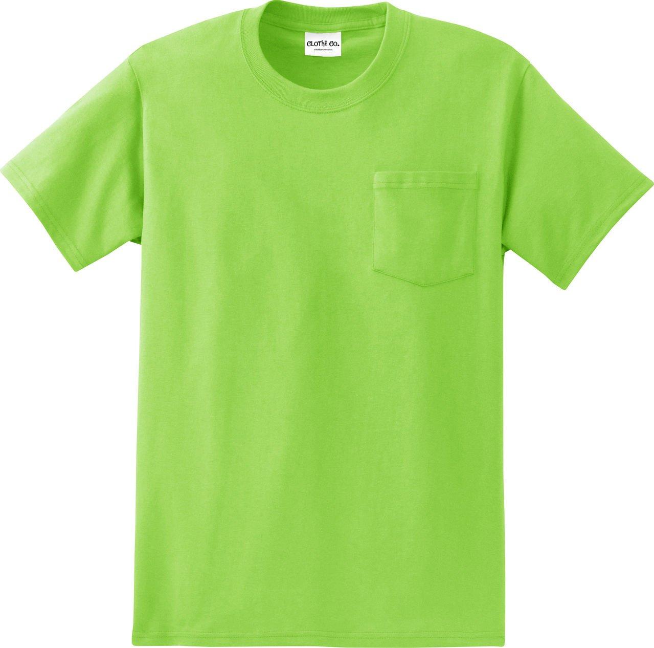 Clothe Co。メンズHeavyweight 100 %コットン半袖ポケットTシャツ B01BK6X8II 5L|ライムグリーン ライムグリーン 5L