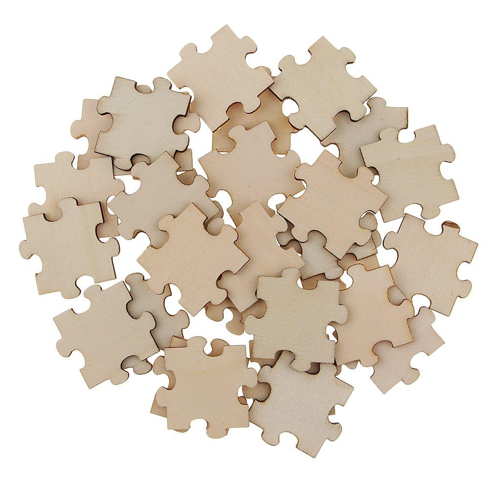 B Blesiya Fette Di Legno Di Abbellimento Di Puzzle In Bianco Di Legno Di 50 40mm Per La Decorazione Di Nozze