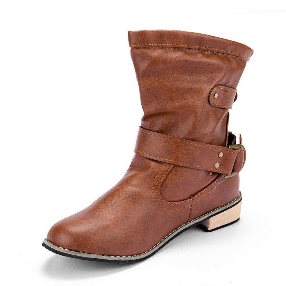 Mujer Oudan Zapatos Casual Botines De Planos Botas qtHt18g