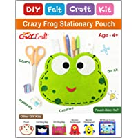 Crazy Craft Frog Stationary Pouch for Kids DIY Felt Craft Kit | Learning Activity Kit | Stiching kit