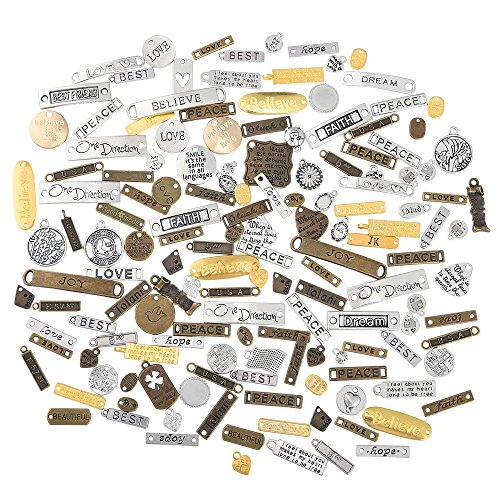 Pllieay 100g Inspiration Charms Mixed Inspiration Words Charms Pendants for Jewelry Making, DIY Necklace, Bracelets, Earrings and Other Fashion Accessories Making