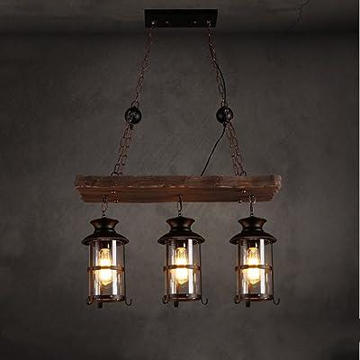 Vintage Industrial Wind Iron Chandelier 3 Head Restaurant Bar Coffee Shop Verre en bois suspendu W68cm * H110cm