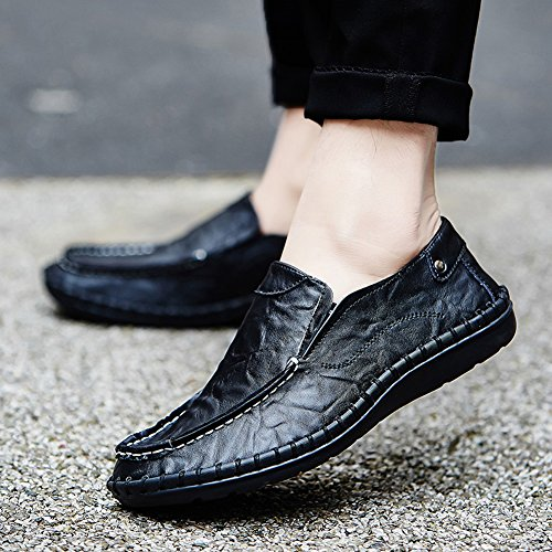 Black Noblespirit Slip Fashion Shoes Slipper Shoes Mens Casual Driving On Leather Loafers fqwO0Pfr