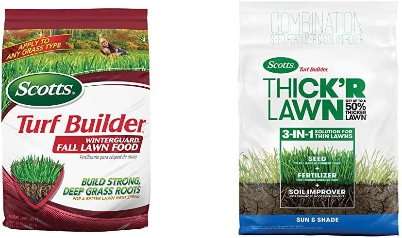 Scotts Turf Builder Winterguard Fall Lawn Food, 15,000 sq. ft. & Turf Builder Thick'R Lawn Sun & Shade - 3 in 1 Lawn Fertilizer, Seed, Soil Improver for a Thicker, Seeds up to 4,000 sq. ft, 40 lb.