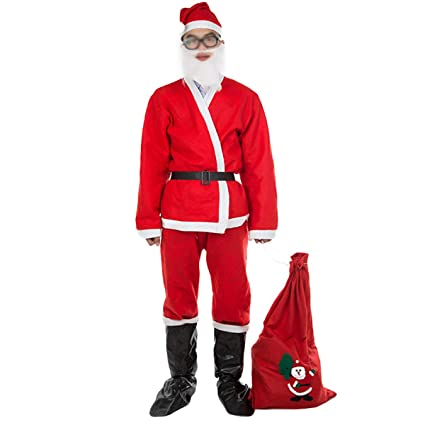 Amazon.com: BESTOYARD Santa Claus Suit with Hat Beard Top ...