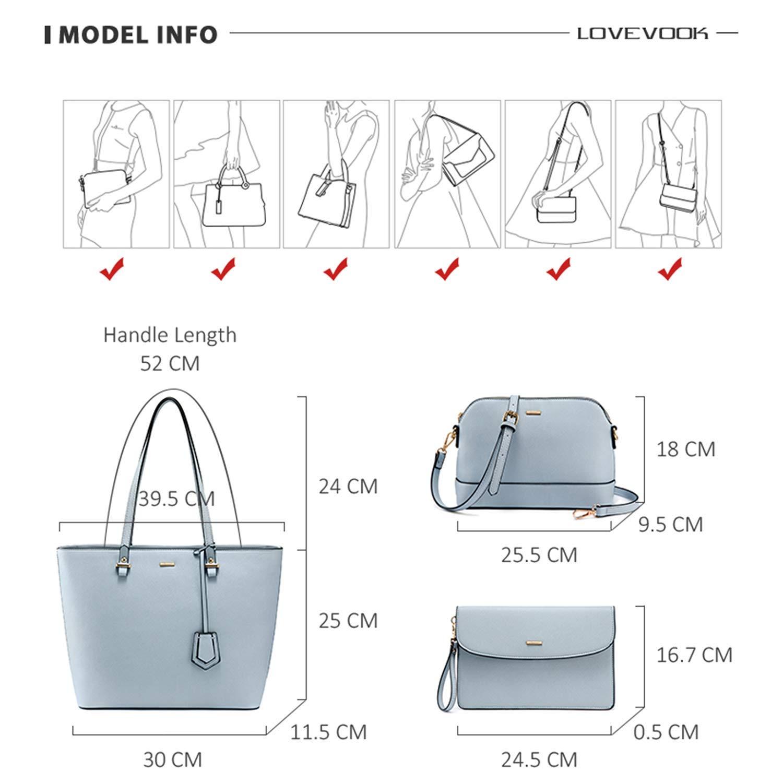 LOVEVOOK Handtasche Damen Schultertasche Handtaschen Tragetasche Damen Groß Designer Elegant Umhängetasche Henkeltasche Set 3-teiliges Set Hellblau
