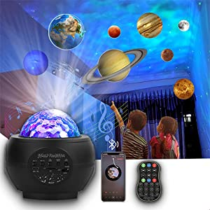 2021 New Planets Projection Starry Night Light 3 in 1 L-E-D Ocean Wave Galax-y Projector Light Music Nebula Star Projector Remote Control /Bluetooth Music Player for Kids Baby Home Planetarium
