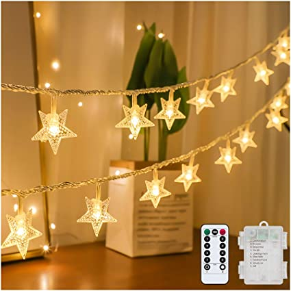 10 LED Star Lights Warm White Battery Operated Christmas Decoration Xmas Fairy