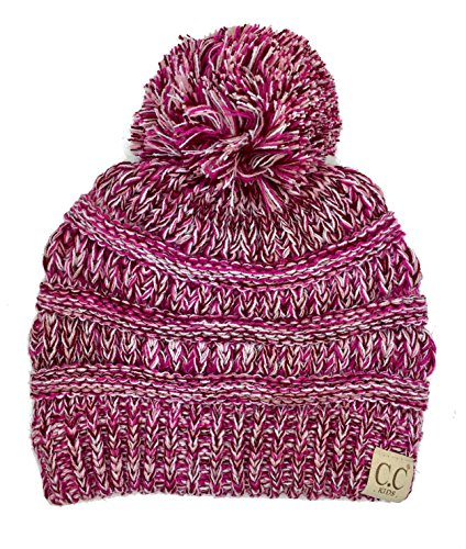 Chunky Thick Stretchy Knit Slouch Pom Pom Beanie Cap Hat for Kids Ages 2-7