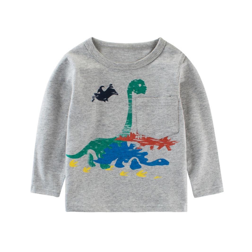 Jimmackey Bambino Neonato Dinosauro Stampe Manica Lunga Top T-Shirt Camicetta