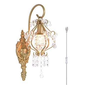 Surpars House Plug In Crystal Wall Lamp With 17 Cord And Onoff