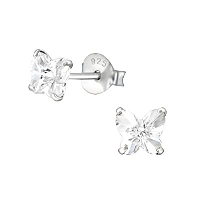 classic styles enjoy lowest price complete in specifications Small Butterfly Earrings with sparkly crystal (various options): 925  Sterling Silver earrings for women girls ladies - Sterling Silver studs –  silver ...