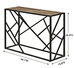 """Homissue 30"""" Height Console Sofa Table with Sturdy Criss-cross Design for Hallway / Living Room /Entryway, Retro Brown"""