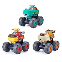 HOLA Monster Trucks Toys for Boys, Pull Back Car Vehicles for Toddlers, Friction Powered Wild Animal Car Toys, Bull Leopard Crocodile Inertia Truck Toys Set for 1 2 3 4 5 Year Old Boys Baby Kids