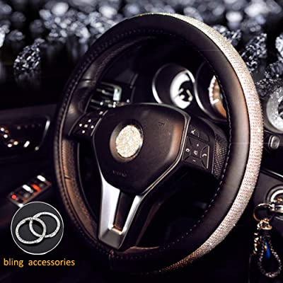 ALVAZA Genuine Leather Steering Wheel Cover with Crystal Bling Bling Rhinestones Car Diamond Anti-Slip Breathable Steering Cover for Vehicles SUV 15 Inch Universal+ 2 Pieces Bling Rings: Automotive