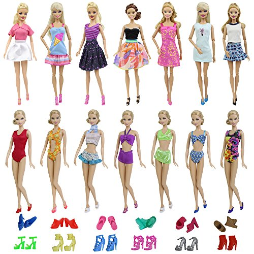 ZITA ELEMENT 15 PCS Barbie Doll Clothes and Shoes | Summer D