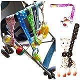 Xbes Adjustable Baby Bottle Clip Infant Toys Strap Belt Holders for Stroller (Pack of 6) Random Color