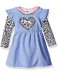 Baby Girls' 2 Piece Chambray Dress Set With Longsleeve Bodysuit