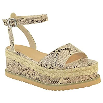 995b8c152d Womens Ladies Wedge Flat Espadrille Lace Tie Up Sandals Platform Summer  Shoes