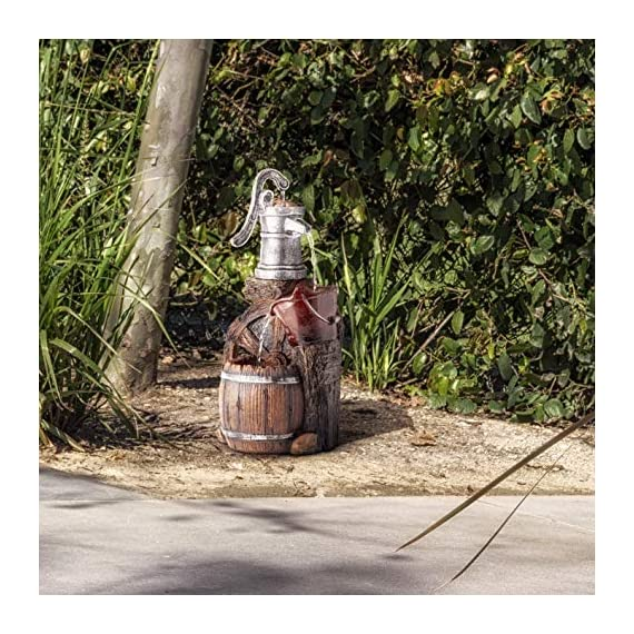 Alpine Corporation WCT688 Old Fashion Pump Barrel Rustic Fountain, 24 Inch Tall, Brown and Grey - Make sure this fits                by entering your model number. BARREL FOUNTAIN: Garden water fountain is the perfect addition to your outdoor decor. Interior pump keeps the water flowing - just plug it in! RELAXING WATER FLOW: Water trickles from the pump spout into the bucket and barrel tiers, adding peaceful ambiance to your outdoor setting - patio, outdoor-decor, fountains - 61mPeEY07VL. SS570  -