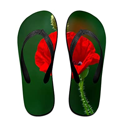 Custom Casual Poppy Flower Petals Womens Sandals Beach Sandals Pool Party Slippers Flip Flops