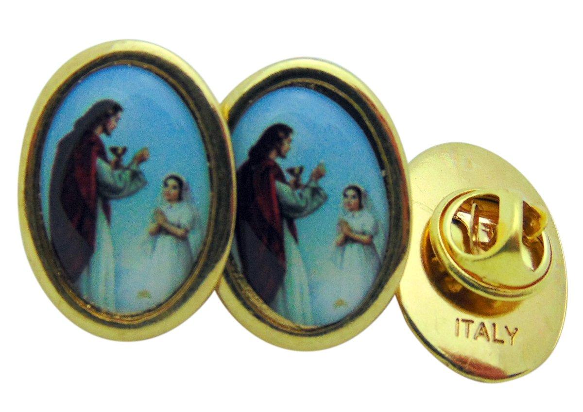 Girls First Holy Communion Brass Tone Lapel Pin, Bulk Set of 6