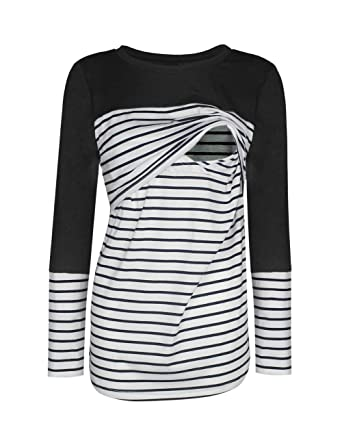 a93c1bad983 BEAdressy Women Double Layer Striped Print Long Sleeve Maternity  Breastfeeding and Nursing Tops (S,