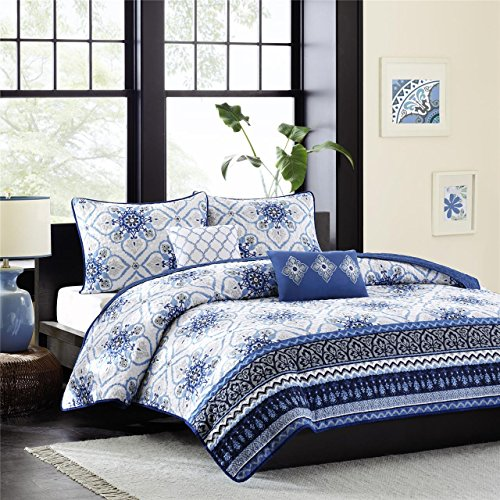 Intelligent Design Cassy 5 Piece Coverlet Set, Full/Queen, Blue