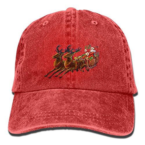 Santa Claus and Reindeer DIY Pattern Summer Fashion Cotton Baseball Cap Adjustable Trucker Hats for Outdoor -