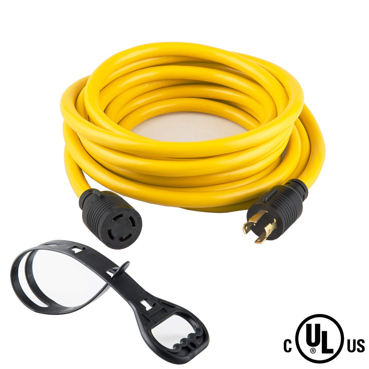 40FT Heavy Duty Generator Locking power cord NEMA L14-30P/L14-30R,4X10 Gauge SJTW Cable, 125/250V 30Amp 7500 Watts Yellow Generator Lock Extension Cord With UL listed Yodotek by Yodotek