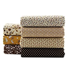 Coffee Series Floral Cotton Fabric Quilting Patchwork Fabric Fat Quarter Bundles Fabric For Scrapbooking Cloth Sewing DIY Crafts Handmade Bags Pillows 50X50cm 7pcs/lot (Coffee)