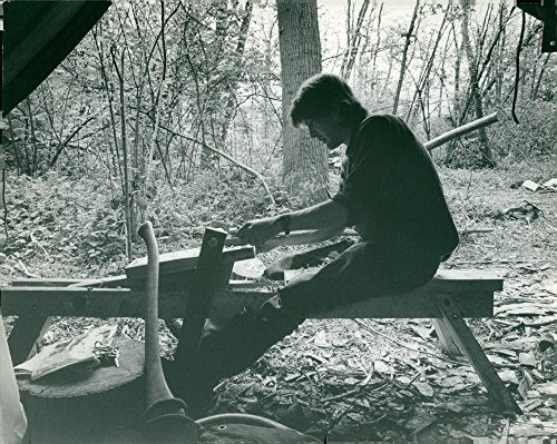 (Vintage photo of Wood craftsman Mick Petts in his makeshift workshop in the middle of Tyrell39;s Wood.)