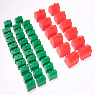 Monopoly Replacement Pieces: Houses & Hotels: Game Set of Plastic Monopoly Green House and Red Hotel Replacements: Toys & Games