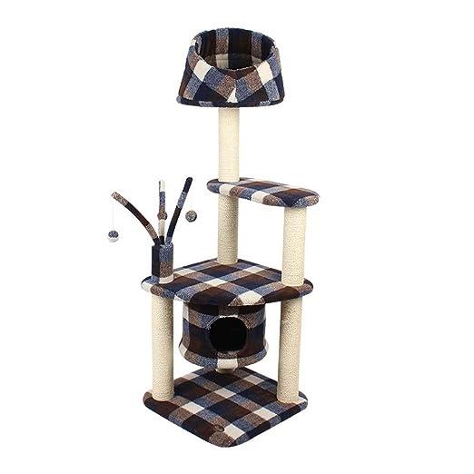 WSS grande gato de madera Muebles gato gato Arenero Árbol Gato del animal doméstico Sisal gato antirralladuras Post juguete, negro: Amazon.es: Deportes y ...