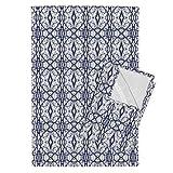Roostery Tree Navy Mirror White Tea Towels Ekko_Tree_Variation by Holli Zollinger Set of 2 Linen Cotton Tea Towels