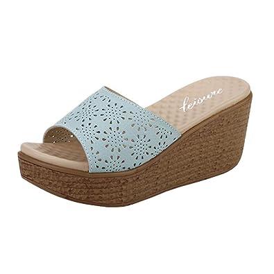 Binying Damen Peep-Toe Keilabsatz ohne Verschluss Sandalen