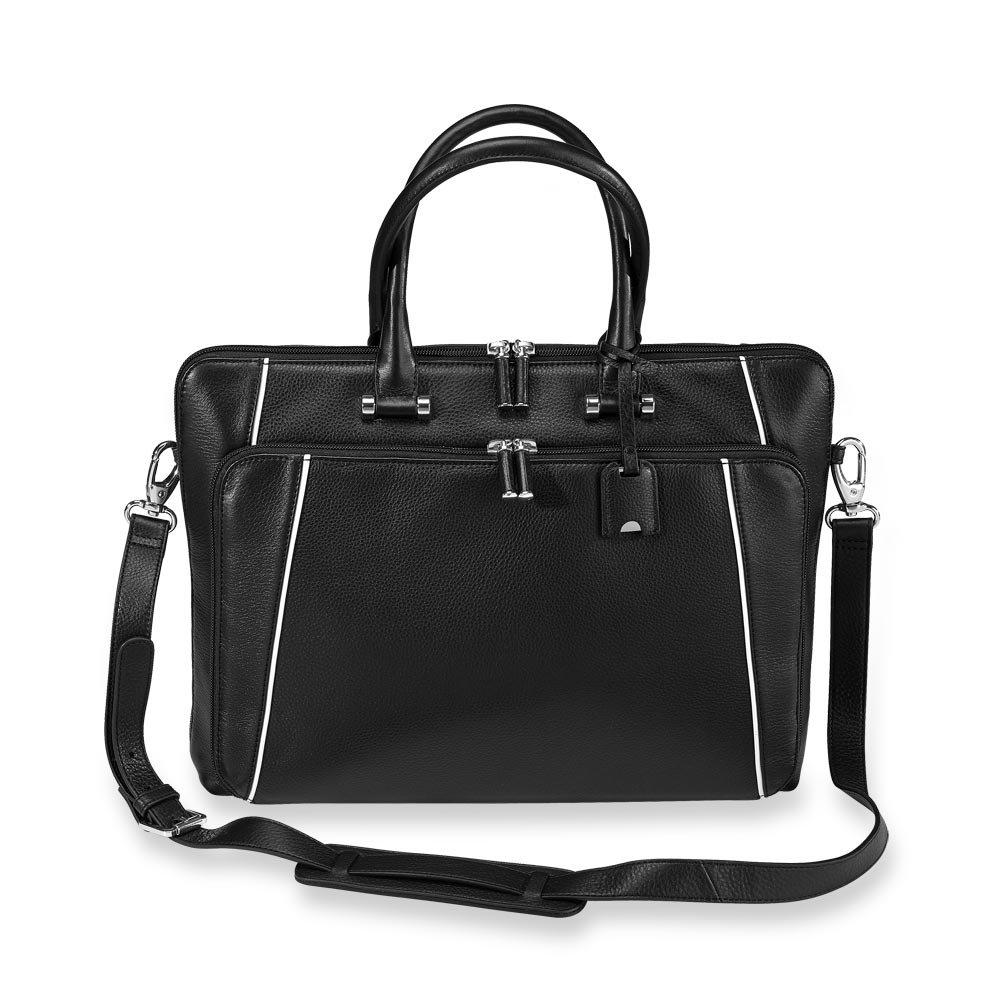 Levenger AL15035 NM Slim and Refined Blair Brief Bag, Classic Contrast