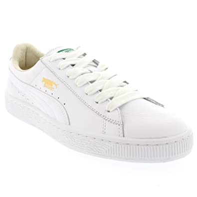 d62d9a90 Amazon.com | PUMA Mens Basket Classic Leather Low Cut White Sport ...