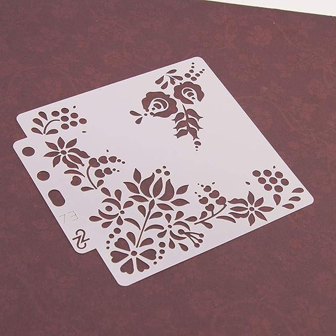 Yiwann Plantilla de bricolaje grabado en relieve pintura para /álbumes de recortes tarjeta de regalo para manualidades
