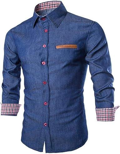Camisa De Mezclilla De Los Hombres Camisas Elegantes De Camisa Joven Mezclilla Formal Larga A Juego Camisa De Los Hombres De Negocios De Moda Casual Blusa: Amazon.es: Ropa y accesorios